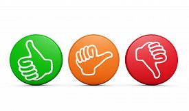 pic of dislike  - Positive medium and negative customer satisfaction feedback rating and survey buttons with thumb up and down icon on white background - JPG