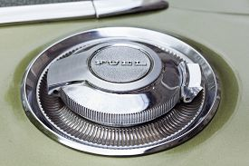 picture of muscle-car  - Fuel Cap of vintage american car from the late 1960s - JPG