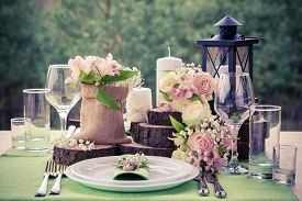 stock photo of banquet  - Wedding table setting in rustic style - JPG