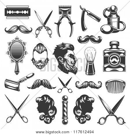 poster of Barber Shop Vector Silhouettes and Icons Set. For Logos, Labels, Badges and Advertising. Beauty Salo