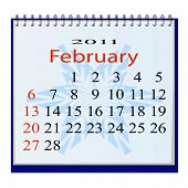 The vector image of a calendar for Febguary 2011