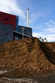 Modern Industrial Bio Fuel Factory Against Blue Sky