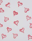 Hand Printed Red Hearts