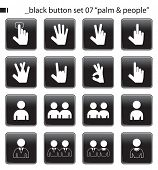 "Black Button Set 07 ""Palm & People"""