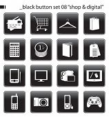 "Black Button Set 08 ""Shop & Digital"""