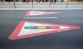 Traffic Light Signs Painted On Pavement