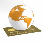 Earth orange and credit card