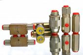stock photo of plumper  - group of hydraulical cutout with red dummys - JPG