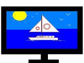 Television Screen with Sailboat