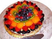 Elegant Fruit Tart Pastry On White Background