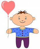 Ragdoll boy with heart balloon