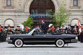 Minister Of Defense Anatoliy Serdyukov Stands In Car Near Orchestra