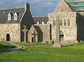 Celtic Cross And Iona Abbey