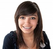 Cute Latino Girl Smiling With Braces