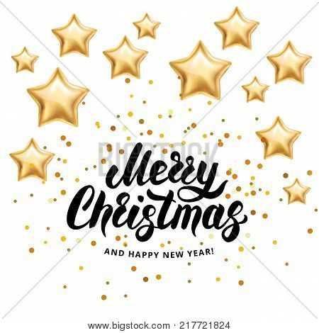 Christmas Invitation Background Gold.Merry Christmas Happy New Year 2018 I Wish You Merry Christmas And Happy New Year Gold Stars Sparkles Glitter Confetti Greeting Card White