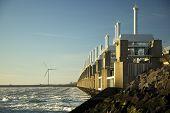 Storm Surge Barrier In Zeeland, Holland.