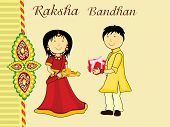 background with brother giving gift to sister