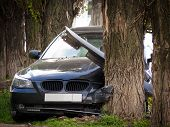 Car crashed into a tree.