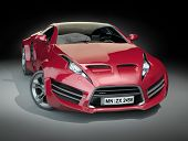 Red hybrid sports car. Non branded concept car.