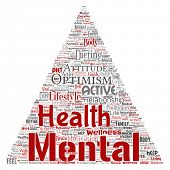 Conceptual mental health or positive thinking triangle arrow word cloud isolated background. Collage poster