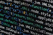 Real Java Script Code Developing Screen. Programing Workflow Abstract Algorithm Concept. Closeup Of poster