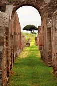 Ancient Roman Arch Walls Street Ostia Antica Rome Italy