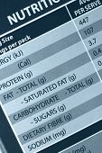 Nutrition label in close-up.