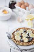 Freshly Prepared Crepes With Banana & Blueberries