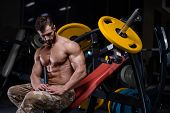 Sexy Strong Bodybuilder Athletic Men Pumping Up Muscles With Dumbbells poster