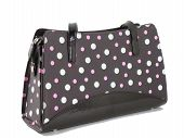 image of poka dot  - brown purse with withe and pink dots against white background - JPG