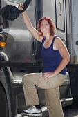 stock photo of 18 wheeler  - Woman driver with her commercial 18 - JPG