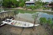 wooden fishing boat in the swamp village