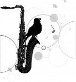 Ilustración con saxofón negro y aves