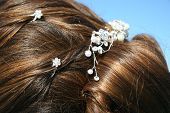 Bride Hair In An Updo With Barrette