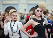 MOSCOW - OCTOBER 2: Two beautiful models with extraordinary hairdos at XVII International Festival