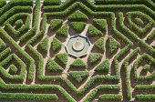 stock photo of royal botanic gardens  - overhead view of a formal garden in the Alcazar of Segovia - JPG