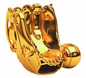 Sports: Golden Baseball Glove And Ball Isolated