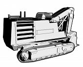 foto of jcb  - Perspective illustration of a digger in black and white - JPG