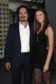 LOS ANGELES - AUG 30: Kim Coates and daughter at the Season Three premiere screening of 'Sons of Ana