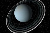stock photo of uranus  - a 3 d render of uranus and space - JPG