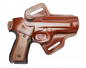 semiautomatic pistol in leather holster