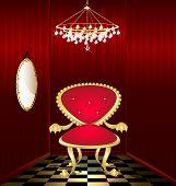 Silla roja en un cuarto rojo