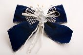 Christmas Blue Bow Decorated With Glass Angel