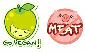 vegetarian characters - go vegan and meat free signs
