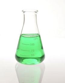 foto of pyrex  - Green liquid in a pyrex chemical beaker - JPG