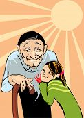vector image of grandfather and niece