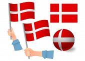 Denmark Flag In Hand Set. Ball Flag. National Flag Of Denmark Vector Illustration poster