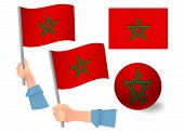 Morocco Flag In Hand Set. Ball Flag. National Flag Of Morocco Vector Illustration poster