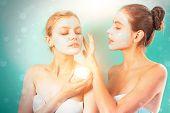 Girls Friends Making Clay Facial Mask. Anti Age Mask. Stay Beautiful. Skin Care For All Ages. Women  poster