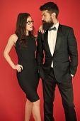 Official Event Concept. Man Bearded Wear Tuxedo Girl Elegant Dress. Formal Dress Code. Visiting Even poster